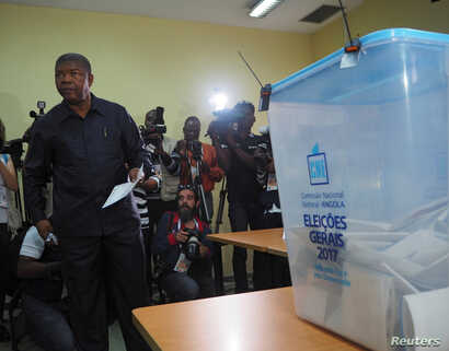 Joao Lourenco, presidential candidate for the ruling MPLA party, waits to cast his vote in Luanda, Angola, Aug. 23, 2017.