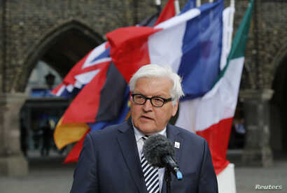 German Foreign Minister Frank-Walter Steinmeier gives a statement at Luebeck City Hall before a meeting of G7 foreign ministers, Luebeck, Germany, April 14, 2015.