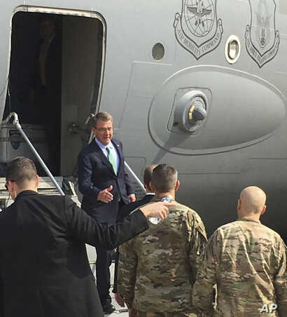 Carter in Iraq: U.S. Defense Secretary Ash Carter arrives in Baghdad, Iraq to meet with his commanders and assess the progress in the opening days of the operation to retake the city of Mosul from Islamic State militants, on Saturday, Oct. 22, 2016. ...