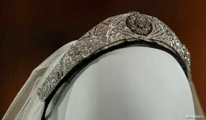 The diamond and platinum bandeau tiara worn by Meghan, Duchess of Sussex, and lent to her by Britain's Queen Elizabeth is seen ahead of the exhibition A Royal Wedding, at Windsor Castle, in Windsor, Britain, Oct. 25, 2018.