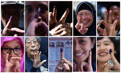 A combination picture shows people raising their finger after voting during an election for Jakarta's governor in Jakarta, Indonesia February 15, 2017.