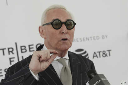 """FILE - Political consultant Roger Stone attends a screening of """"Get Me Roger Stone"""" at the SVA Theatre during the 2017 Tribeca Film Festival."""