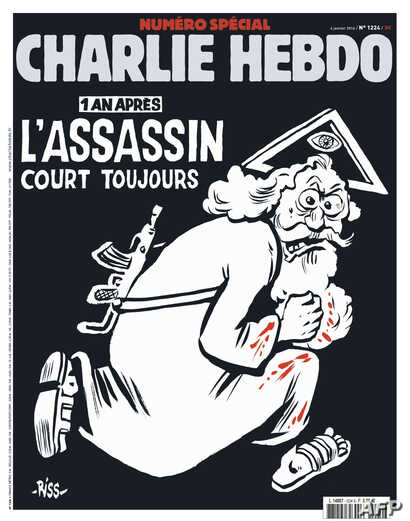 Charlie Hebdo magazine marks the first anniversary of a deadly assault on its offices with a special edition. Its cover headline says: 'The assassin still at large.'