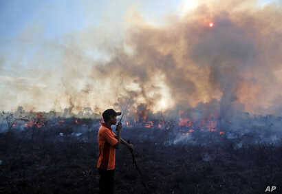 FILE - A fireman talks on his walkie talkie as he and his team battle peatland fire on a field in Pemulutan, South Sumatra, Indonesia, July 30, 2015.