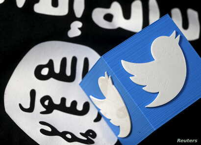 """FILE - A 3-D printed logo of Twitter and an Islamic State flag are seen in this picture illustration taken Feb. 18, 2016. Radicals in the West """"use colleges, mosques, media outlets and social media sites to radicalize people,"""" one researcher on Islam"""