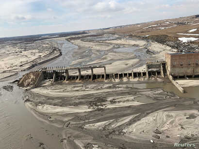 An aerial view of Spencer Dam after a storm triggered historic flooding, near Bristow, Nebraska, March 16, 2019.