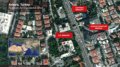 A map showing the location of the exhibit hall in Ankara where Russia's ambassador to Turkey, Andrei Karlov, was shot and killed Dec. 19, 2016.