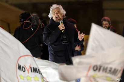 Five-Star Movement (M5S) founder Beppe Grillo, speaks at his party's final rally in Rome, March 2, 2018.