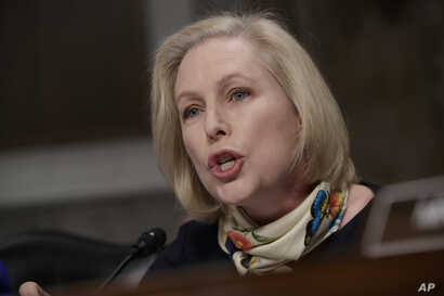 Sen. Kirsten Gillibrand, D-N.Y., questions Marine Gen. Robert B. Neller, the commandant of the Marine Corps, at a Senate Armed Services Committee hearing on the investigation of nude photographs of female Marines and other women that were shared on t...