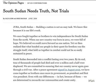 Image of op-ed allegedly written by South Sudanese President Salva Kiir and his rival-turned-First Vice President Riek Machar, which was published in The New York Times, June 7, 2016.