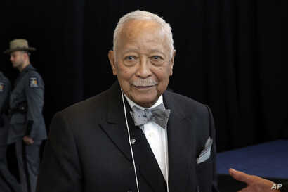 Former New York Mayor David Dinkins attends Gov. Andrew Cuomo's State of the State address in New York's One World Trade Center building, Monday, Jan. 9, 2017.