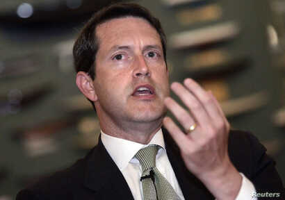 FILE - Randal Quarles speaks during a Reuters-sponsored panel discussion on the future of the Fannie Mae and Freddie Mac, in New York, July 19, 2006.