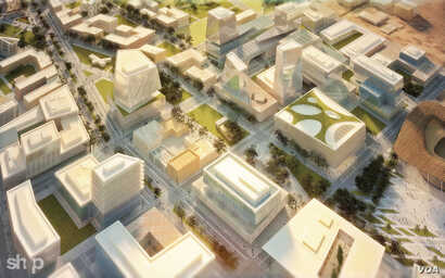 An artist's rendering shows a main boulevard concept of office buildings for Konza, Kenya.