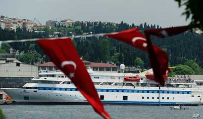 Turkish aid ship, the Mavi Marmara, is seen in Istanbul, Turkey, Monday, May 30, 2011. Pro-Palestinian activists marked the first anniversary of a deadly raid by Israel on a Turkish aid ship bound for the Gaza Strip by gathering on the deck of the sa...