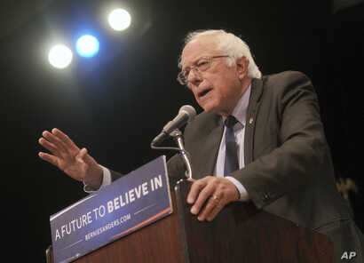 """Bernie Sanders gives his """"Where We Go From Here"""" Speech at a rally at Town Hall in New York City."""