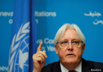 UN envoy Martin Griffiths attends a news conference ahead of Yemen talks at the United Nations in Geneva, Switzerland Sept. 5, 2018.