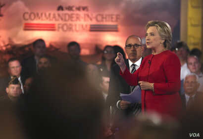 "Democratic presidential candidate Hillary Clinton speaks during a ""commander in chief forum"" hosted by NBC in New York, Sept. 7, 2016."