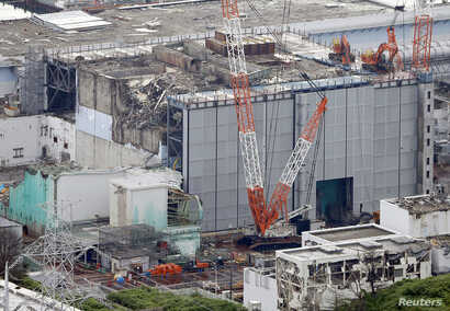 An aerial view shows the No. 3 reactor building at the Fukushima Daiichi nuclear power plant, July 18, 2013.