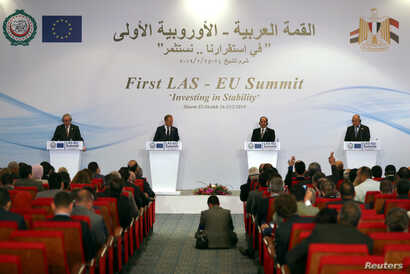 European Commission President Jean-Claude Juncker, European Council President Donald Tusk, Abdel Fattah el-Sissi, President of Egypt and Ahmed Aboul Gheit, Arab League's secretary general, attend a news conference during a summit between Arab league ...