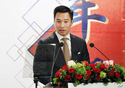 Alex Wong, U.S. deputy assistant secretary of state, delivers a speech during the 2018 Hsieh Nien Fan of the American Chamber of Commerce in Taipei, Taiwan, March 21, 2018.