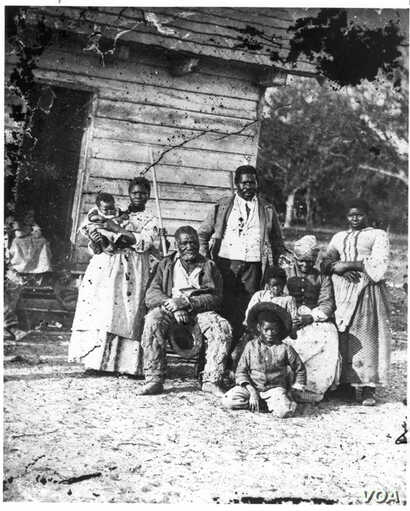 Several generations of a family are pictured on Smith's Plantation, South Carolina, ca. 1862. (photo courtesy of the Library of Congress)