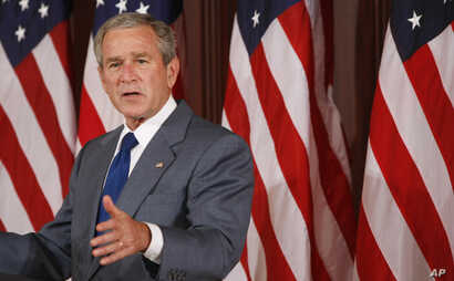 President George W. Bush makes remarks on comprehensive immigration reform in the Eisenhower Executive Office Building on the White House compound in Washington, June 2007.
