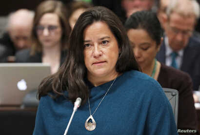 Liberal MP and former Canadian justice minister Jody Wilson-Raybould testifies before the House of Commons justice committee on Parliament Hill in Ottawa, Canada, Feb. 27, 2019.