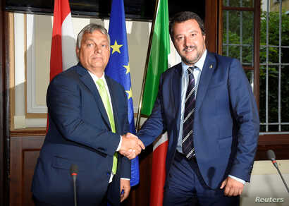Italian Interior Minister Matteo Salvini meets with Hungarian Prime Minister Viktor Orban in Milan, Italy, Aug. 28, 2018.