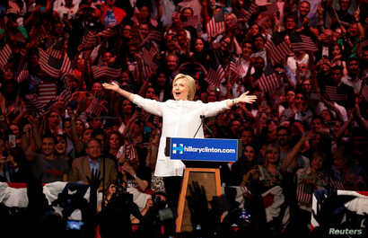 Democratic U.S. presidential candidate Hillary Clinton arrives to speak during her California primary night rally held in the Brooklyn borough of New York, U.S., June 7, 2016.