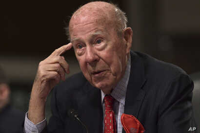 Former Secretary of State George Shultz speaks during the Senate Armed Services Committee hearing on Capitol Hill in Washington, Jan. 25, 2018, on global challenges and U.S. national security strategy.
