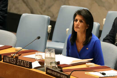 U.S. Ambassador to the United Nations Nikki Haley sits during a meeting at the United Nations Security Council on Syria at the United Nations Headquarters in New York City, NY, April 5, 2017.