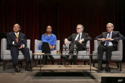 "From left, Henry Louis Gates Jr., Kimberle Crenshaw, David W. Blight and Eric Foner participate in the 'Reconstruction: America After Civil War"" panel during the PBS presentation at the Television Critics Association Winter Press Tour, Feb. 2, 2019, ..."