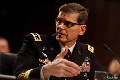 U.S. Army Gen. Joseph Votel, commander of the U.S. Central Command, testifies before the Senate Armed Services Committee on Capitol Hill in Washington, March 9, 2017.