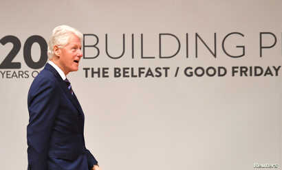 Bill Clinton attends an event to celebrate the 20th anniversary of the Good Friday Agreement, in Belfast, Northern Ireland, April 10, 2018.