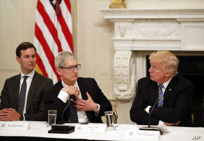 Tim Cook, Chief Executive Officer of Apple, speaks as President Donald Trump, right, and Jared Kushner, White House Senior Adviser, left, listen during an American Technology Council roundtable in the State Dinning Room of the White House, June 19, 2...