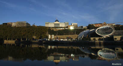 FILE - A general view shows the Georgian Presidential Palace (top C) in Tbilisi, Nov. 2, 2012.