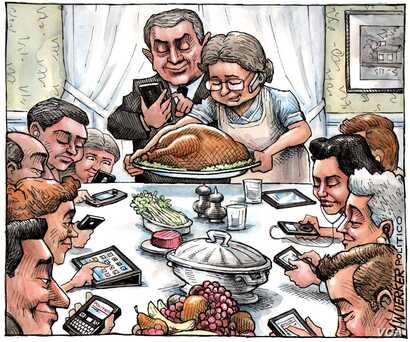 In this image, inspired by a Norman Rockwell painting of a similar theme, cartoonist Matt Wuerker shows how disruptive technology can be to time-honored traditions like family meals.
