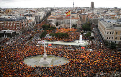 Thousands of demonstrators hold Spanish flags during a protest in Madrid, Feb.10, 2019. Thousands of Spaniards are joining a rally called by right-wing political parties to demand that Socialist Prime Minister Pedro Sanchez step down.