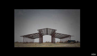 Only the steel skeleton of the school is standing so far. The conflict in South Sudan has forced Rebuild South Sudan to put the project on hold.