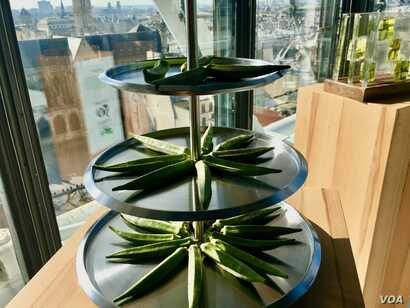"Drought-resistant okra is displayed at a ""Future 50 Foods"" tasting at the Pompidou Center in Paris."