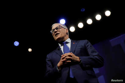 U.S. 2020 Democratic presidential candidate and Governor Jay Inslee participates in a moderated discussion at the We the People Summit in Washington, April 1, 2019.
