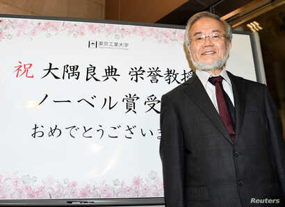 Yoshinori Ohsumi, a professor of Tokyo Institute of Technology smiles in front of a celebration message board after he won the Nobel medicine prize in Yokohama, Japan, October 3, 2016 in this photo released by Kyodo.