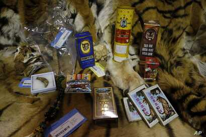 FILE - Illegally trafficked animal products are displayed in a warehouse at the National Wildlife Property Repository in Commerce City, Colo., Oct. 20, 2015.