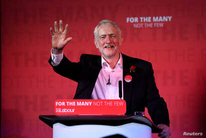 Jeremy Corbyn, leader of Britain's opposition Labour Party, speaks at his closing election campaign rally in London, June 7, 2017.