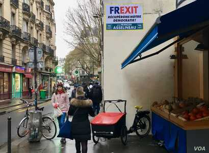 A poster in Paris calling for Frexit, or France leaving the EU.
