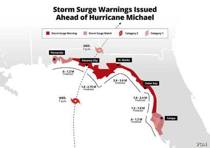 Storm surge predictions for Hurricane Michael in Florida, Oct. 9, 2018