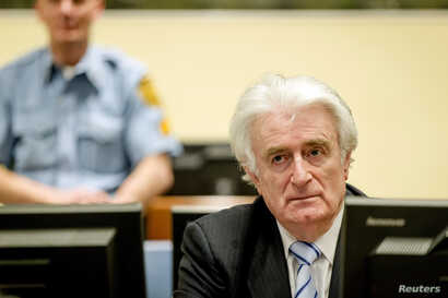 Ex-Bosnian Serb leader Radovan Karadzic sits in the court of the International Criminal Tribunal for former Yugoslavia (ICTY) in the Hague, the Netherlands, March 24, 2016.