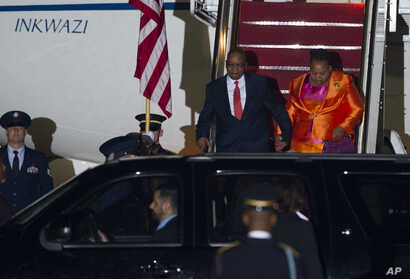 South African President Jacob Zuma and his wife Bongi Ngema arrive at Andrews Air Force Base, Md., Aug. 3, 2014 to attend the US - Africa Leaders Summit.