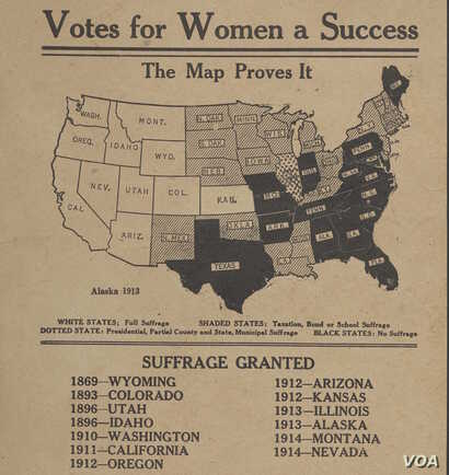 "This map charting and promoting the progress of women's sufferage is from around 1914. (From ""A History of America in 100 Maps"")"