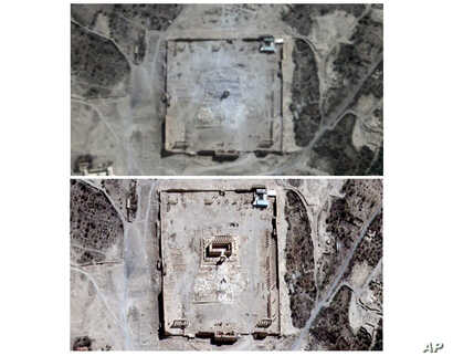 COMBO - This combination of two satellite images provided by UNITAR-UNOSAT shows damage to the main building of the ancient Temple of Bel in Palmyra, Syria on Monday, Aug. 31, 2015, top, and before the damage on Thursday, Aug. 27, 2015. The main buil...